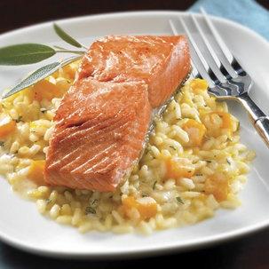 Maple Glazed Sockeye Salmon with Butternut Squash, Goat Cheese and Sage Risotto